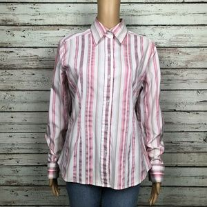 New York & Co Button Up Shirt Pink White Stripe